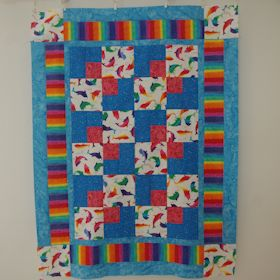 Rainbow Dolphins I Baby Quilt