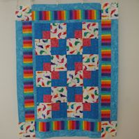 Rainbow Dolphins II Baby Quilt